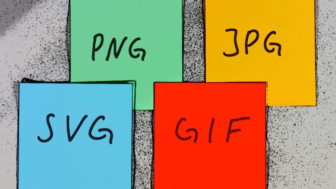 Das sind die am häufigsten genutzten Bildformate im World Wide Web: PNG, JPG, SVG und GIF.